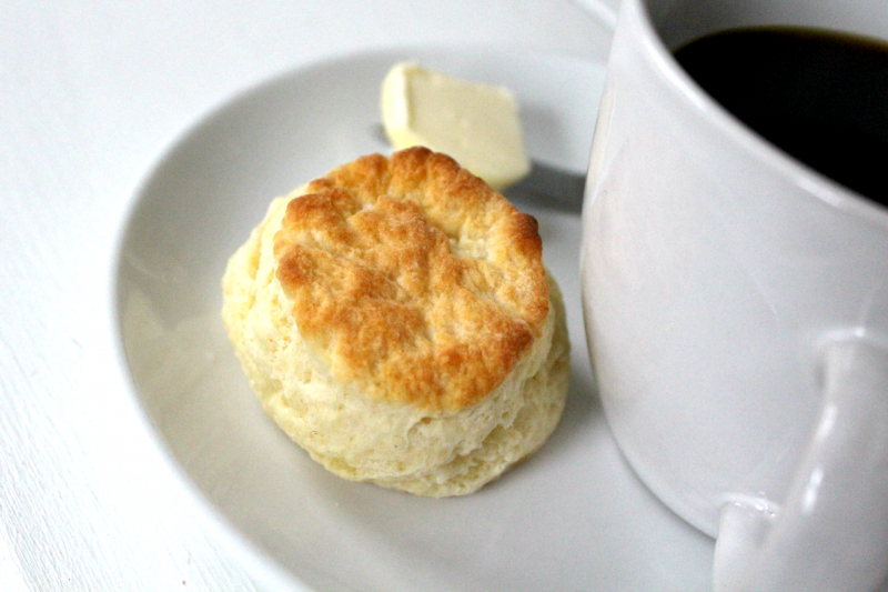 fluffy biscuit and coffee - a perfect way to start the day