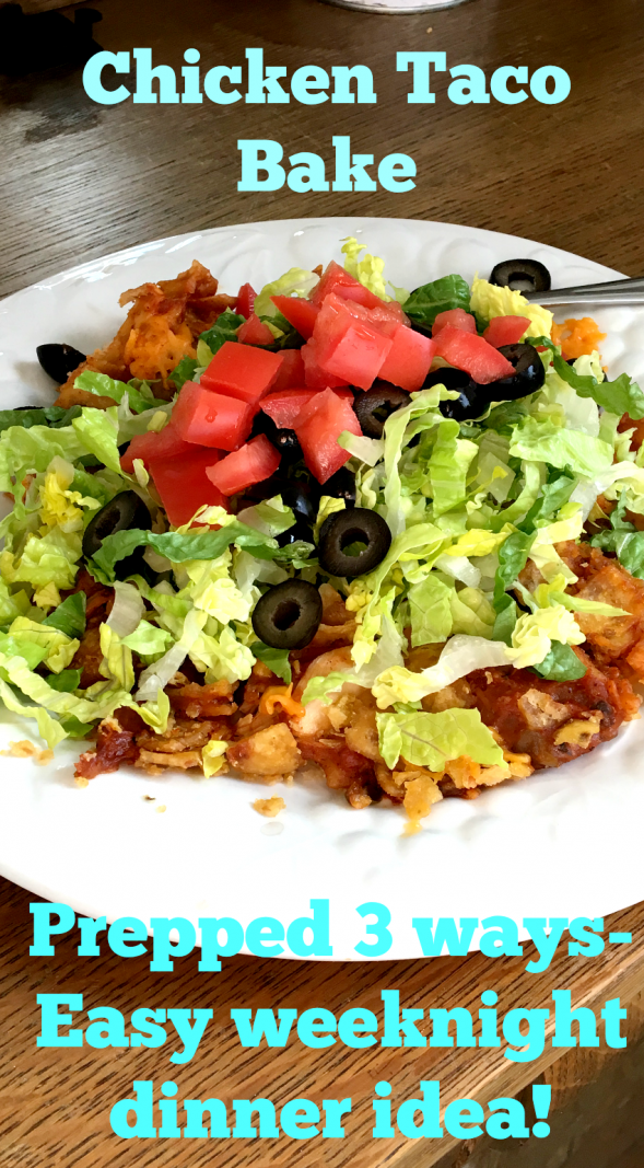 Chicken taco bake prepared THREE different ways! Stovetop, Oven or Crockpot!
