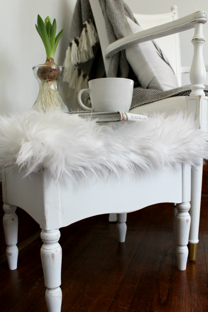 Quick and Easy Footstool facelift using chalk paint and faux fur