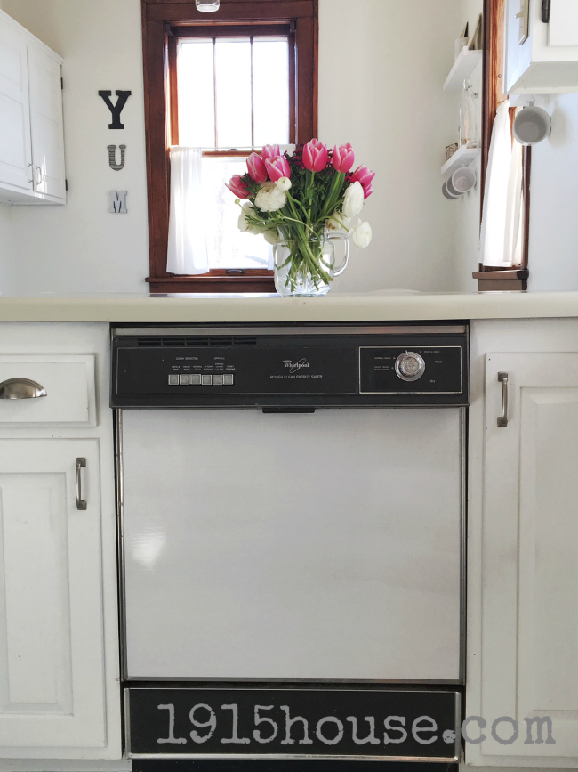 Don't get rid of your old dishwasher if it's running great! Just freshen it up with a coat of paint!