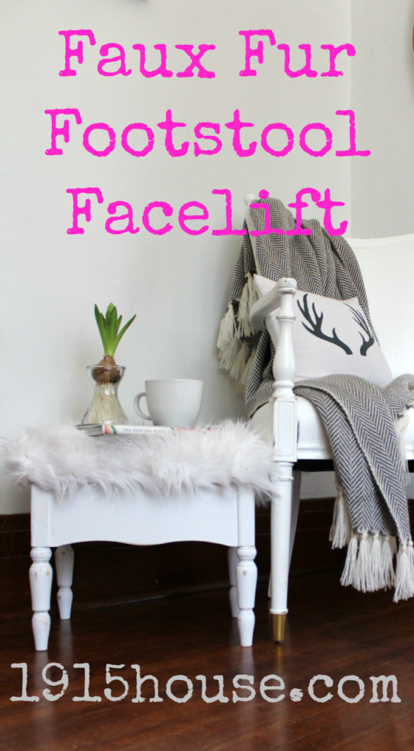 How to: Faux Fur Footstool Facelift in one afternoon!