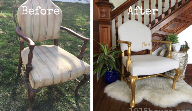 "With just a little paint and some drop cloth take an old chair from ""blah"" to ""beautiful""!!"