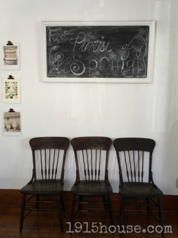 Give your old, dark dining room chairs a fabulously chippy farmhouse feel with MMS milk paint!! Chippy perfection...
