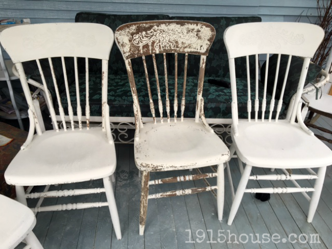 Give your old  dark dining room chairs a fabulously chippy farmhouse feel  with MMS milk. Dining Room Chairs Makeover   1915 House
