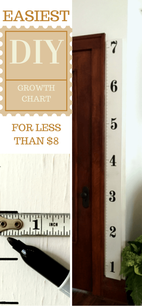 DIY this super simple growth chart in one afternoon - for less than $8! This is a great way to be able to take your growth chart with you wherever you go. Come see how easy it really is -