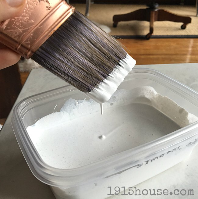 Mixing up The Chalk Mix for painting a side table is quick and easy-