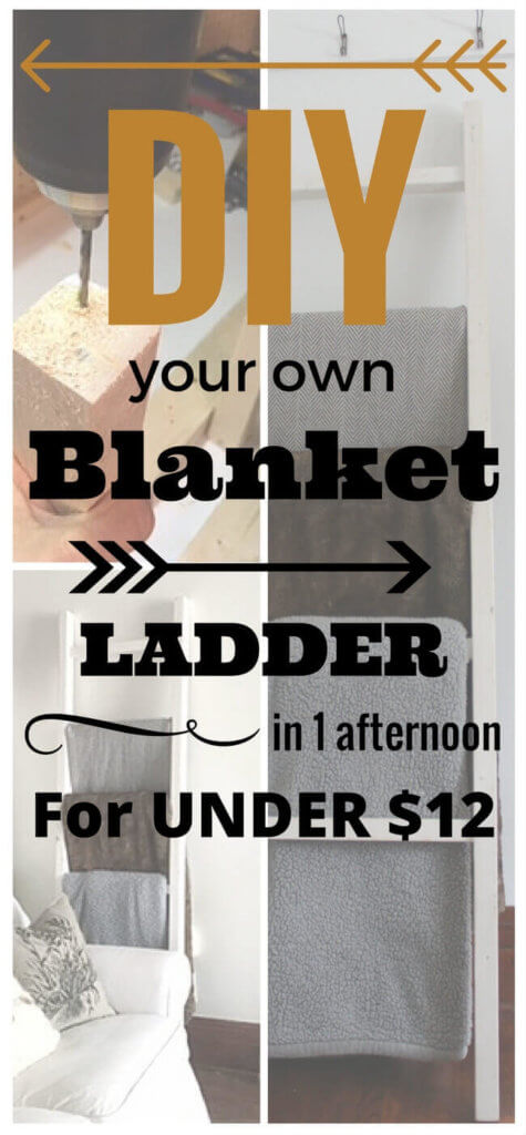 Why spend big bucks on a blanket ladder when you can DIY it in one afternoon for less than $12! So simple, no major tools required, and this DIY blanket ladder will bring a little farmhouse flair to any home.