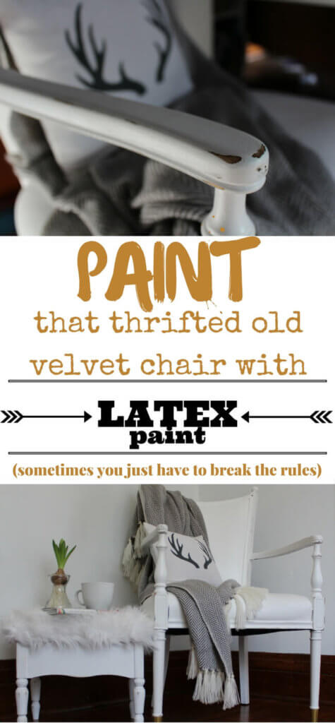 A $10 thrifted velvet chair gets a makeover using LATEX paint. It feels like leather and holds up great. Turn an eyesore into a beautiful, functional piece for you home...on a budget!