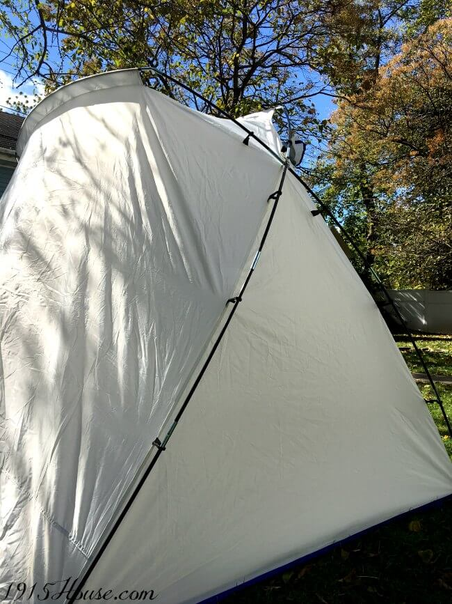 The large spray shelter is a LIFE SAVER for protecting your newly painted piece from leaves and bugs from messing up your fresh paint.
