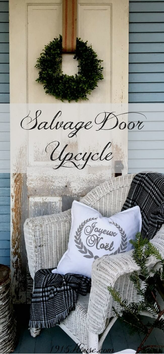 Use an old salvage door for an easy Christmas decor idea! A simple wreath, some ribbon and in under 5 minutes, you've got a unique holiday piece for your home! Click for ideas and inspiration-