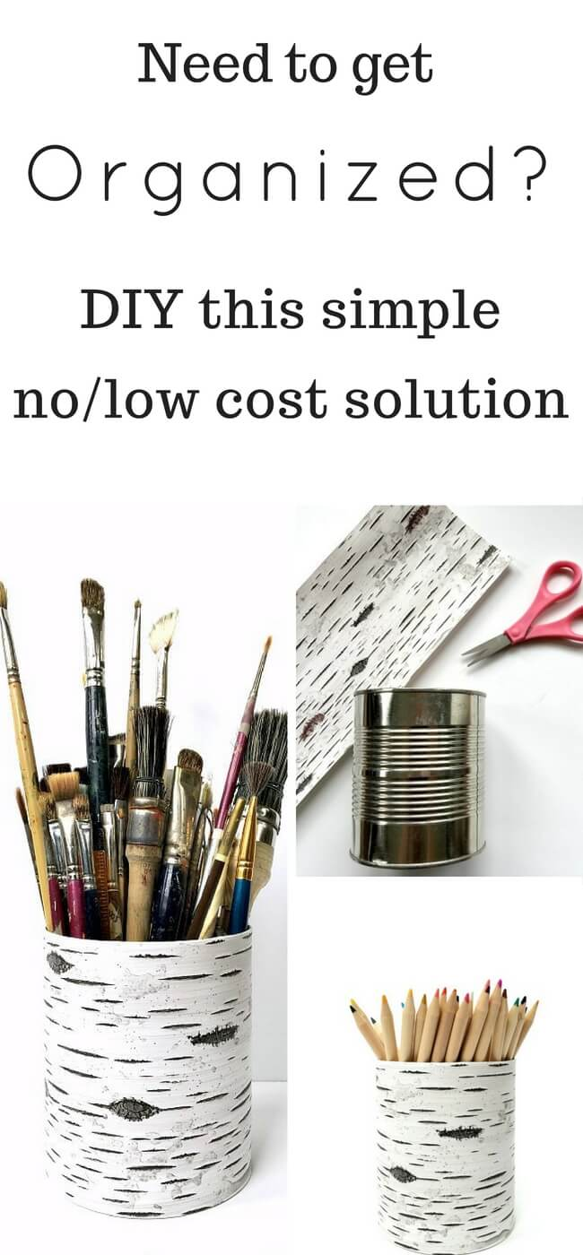 Simple organizer idea using recycled cans - this can be used for so many things! And it's virtually free- Easy Organizer   Organization   DIY   Recycle   Upcycle  
