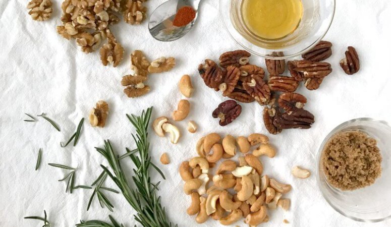 Sweet and Spicy Rosemary Roasted Nuts