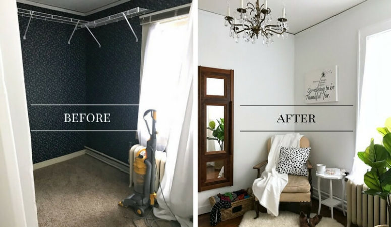 Room makeover on a budget! Painting over wallpaper and refinishing hardwood floors?! This room makeover is amazing...