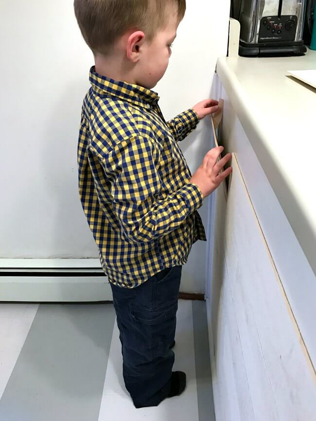 Stikwood installation is so easy our 4 year old helped!