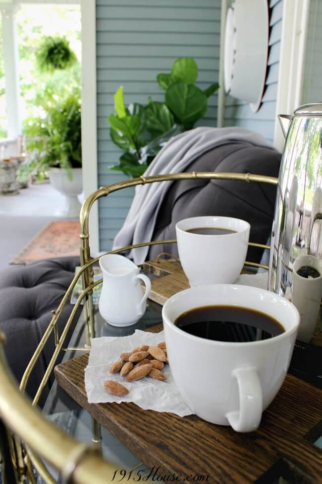 Coffee and snacks on the front porch