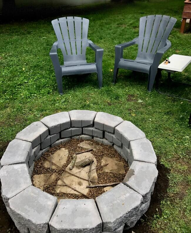 DIY fire pit in under two hours - and no metal ring that will rust through. This fire pit is built to last.