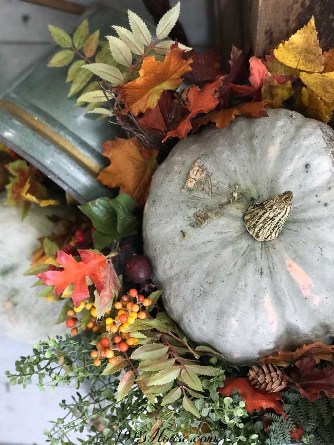 Fall decor is highlighted when you use uniquely colored pumpkins and gourds
