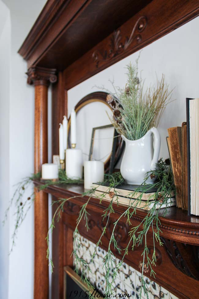 A neutral Christmas mantel - shop the house for everything you need...