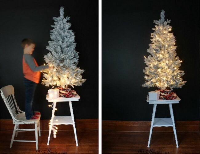 Paint a frosted white Christmas tree and save yourself a a ton of money-