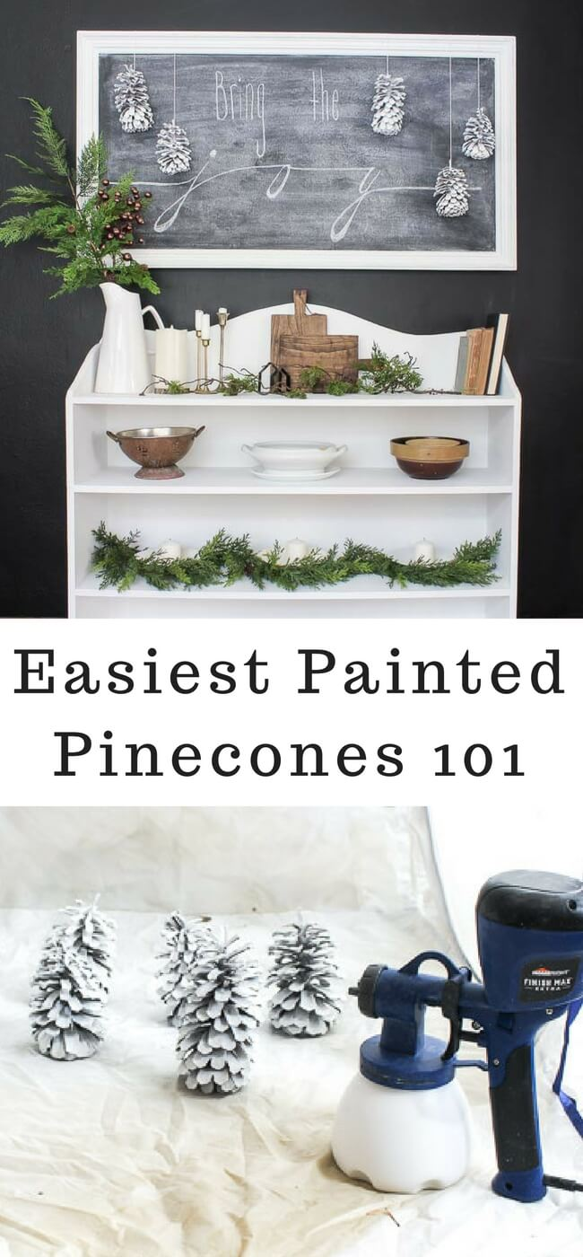 How to paint pinecones for free Christmas and Winter decor