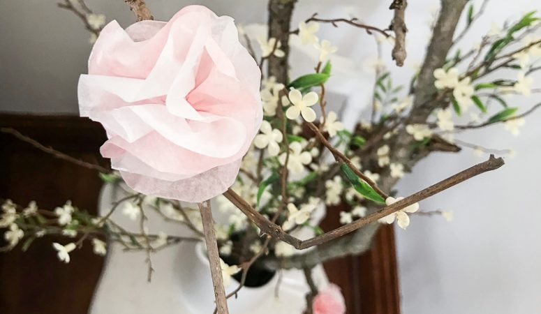 Easy Tissue Paper Flowers For Spring Branches 1915 House