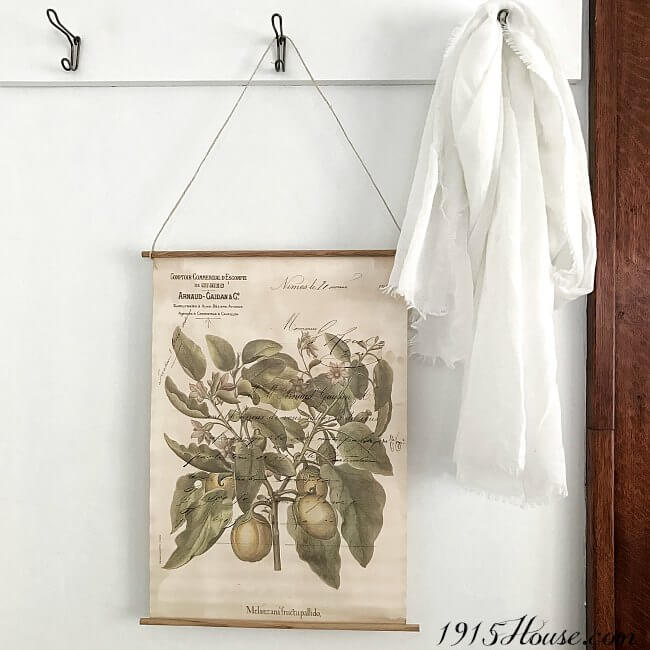 Create a five minute vintage botanical wall hanging. So fast and easy!