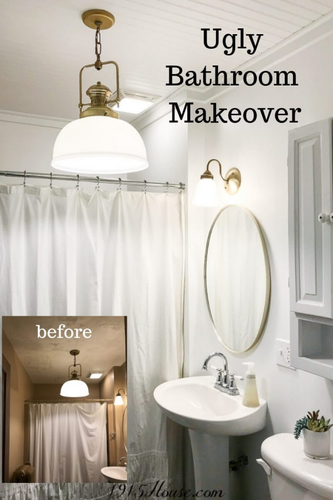 Ugly bathroom makeover with board and batten