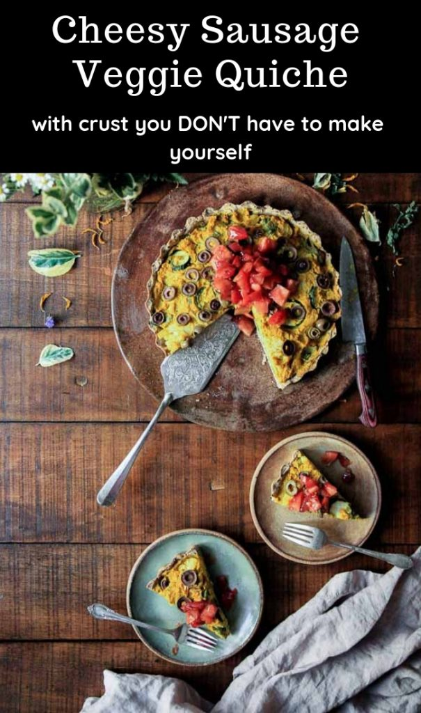 Cheesy Sausage Veggie Quiche - Sooooo good! Use any meat and veggies you like! Completely customizable *and delicious* recipe!