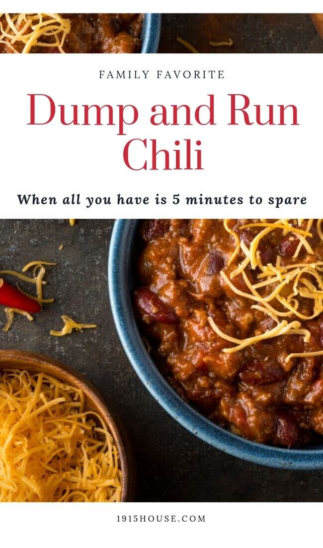 With this Dump and Run Chili in your recipe repertoire, you'll never be stuck with a last-minute dinner fiasco on your hands. This deliciousness takes less than 5 minutes to throw together and it'll fill hungry bellies and warm spirits.